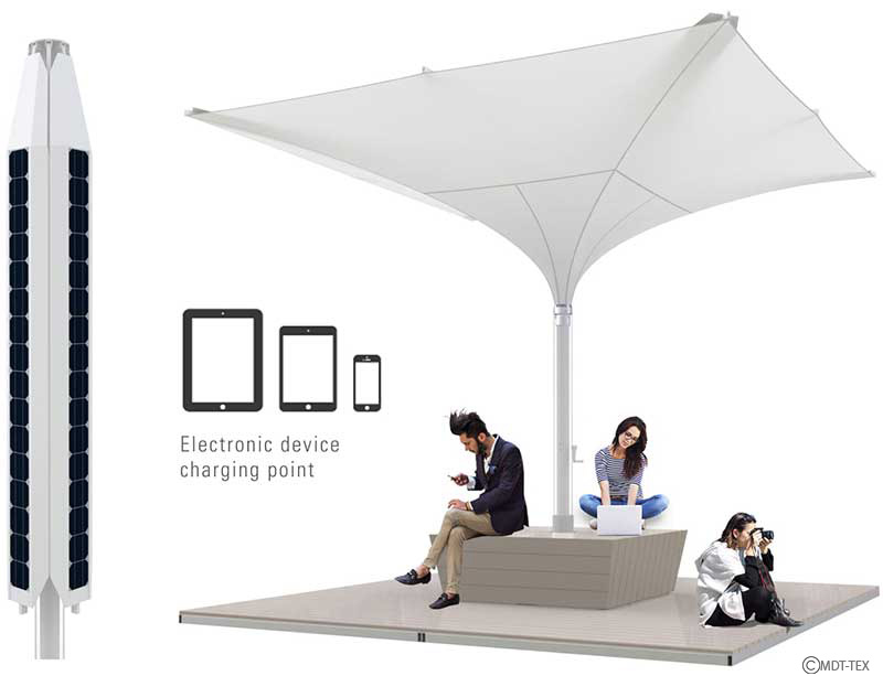 Solar Umbrella for charging electronic devices